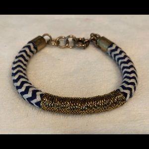 J. Crew Rope Bracelet, blue/ivory chevron w gold